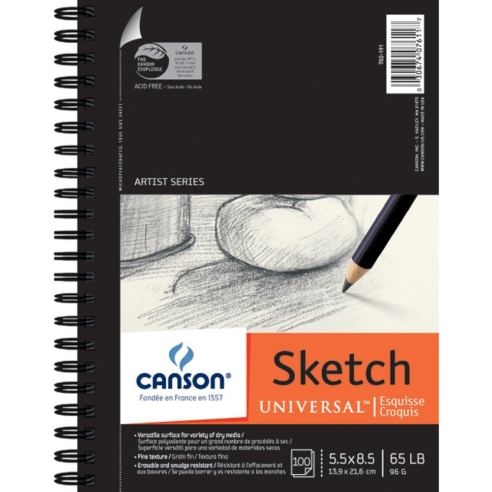 "Canson - Universal Heavy-Weight Sketch Pad - Side-Spiral - 5-1/2"" x 8-1/2"""