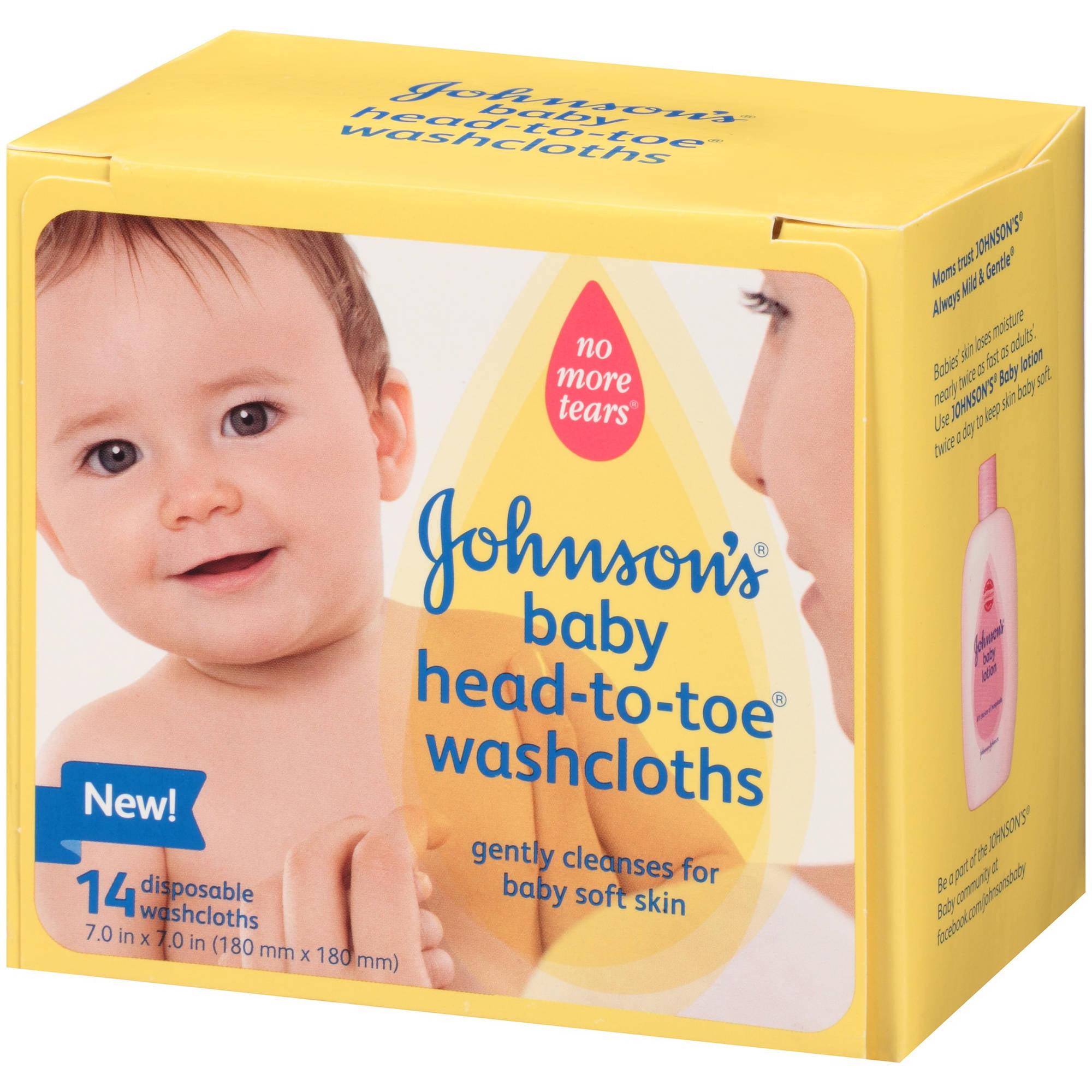 Johnson S Baby Head To Toe Washcloths 14 Ct Walmart Com