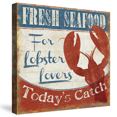 Laural Home Fresh Seafood - Lobster by Pela Studio Vintage Advertisement on Canvas