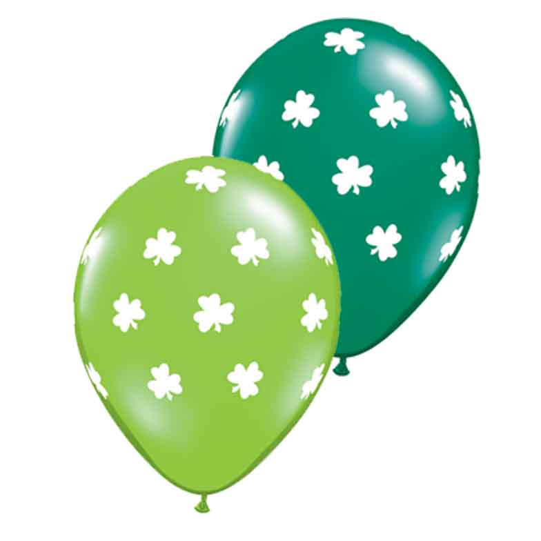 "St Patrick's Big Shamrock Around 11"" Latex Balloons, Green Lime White, 50 CT"