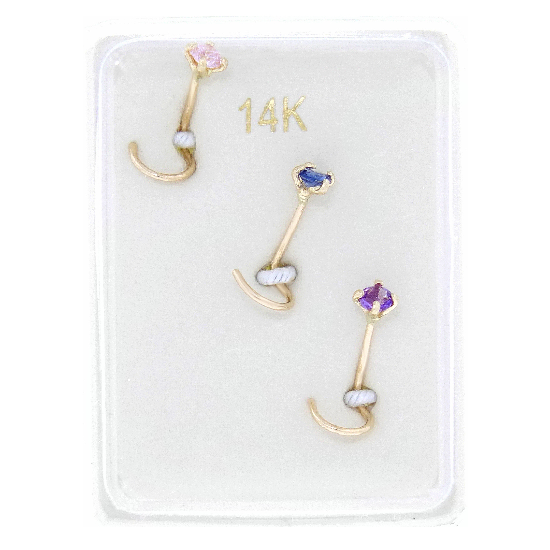 14K Yellow Gold 2mm Created Pink Blue Purple Sapphire Nose Ring Set by Metro Jewelry