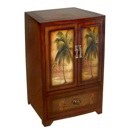 Cheungs Wooden Palm Tree Print 2 Door Drawer Cabinet