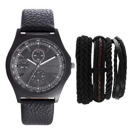 Sean John Mens Watch And Bracelet Set Quartz Og Display Black Case Grey Dial Leather