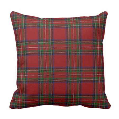 WOPOP Scottish Clan Stewart Red Tartan Pillowcase Throw Pillow Cover 18x18 (Stewart Clan Tartan)