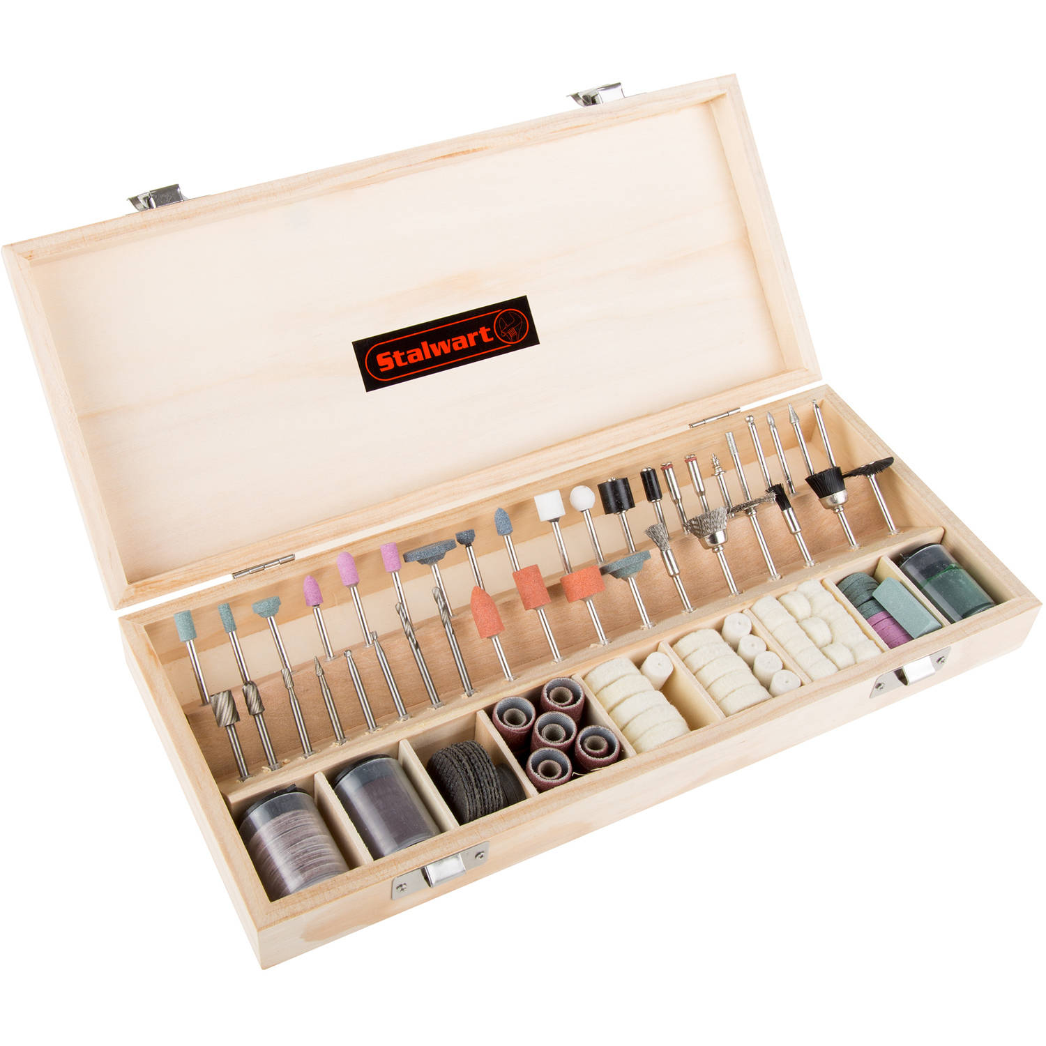 Stalwart 228-Piece Rotary Tool Accessories Kit in Wooden Case