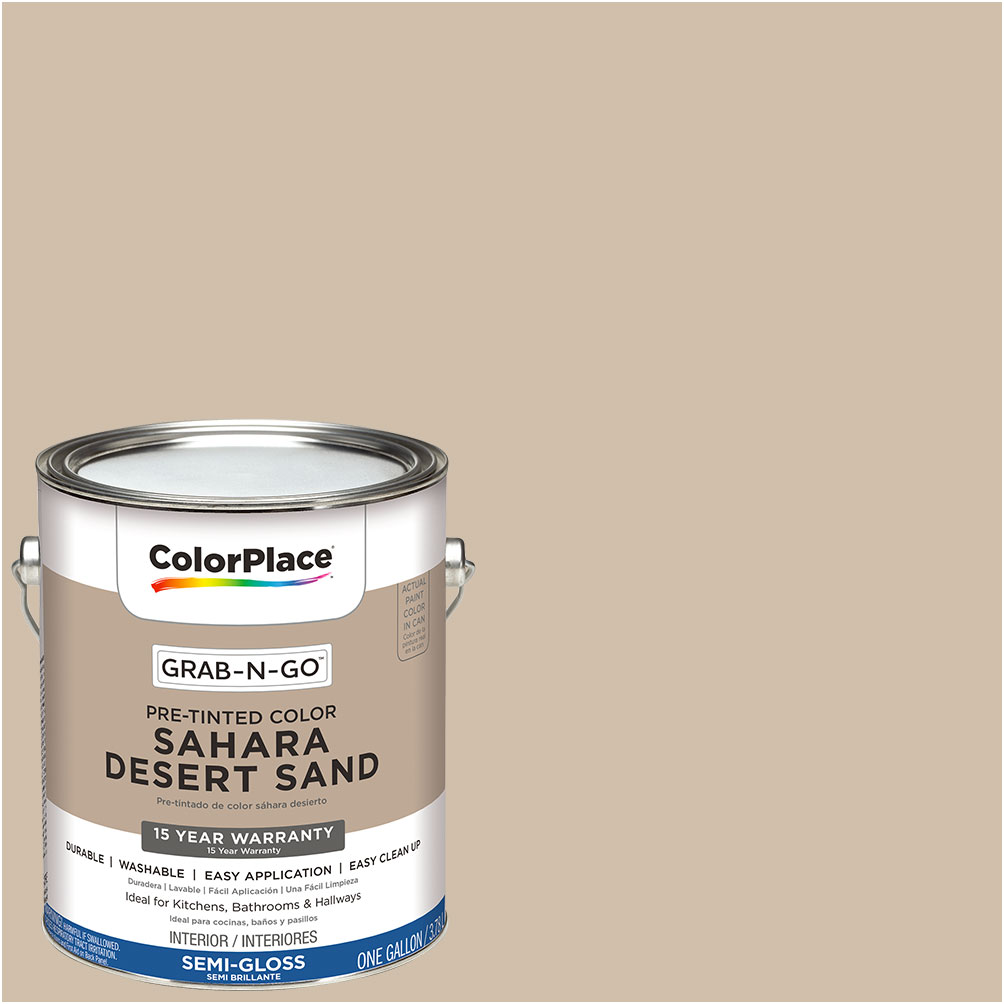 ColorPlace Pre Mixed Ready To Use, Interior Paint, Sahara Desert Sand, Semi-Gloss Finish, 1 Gallon