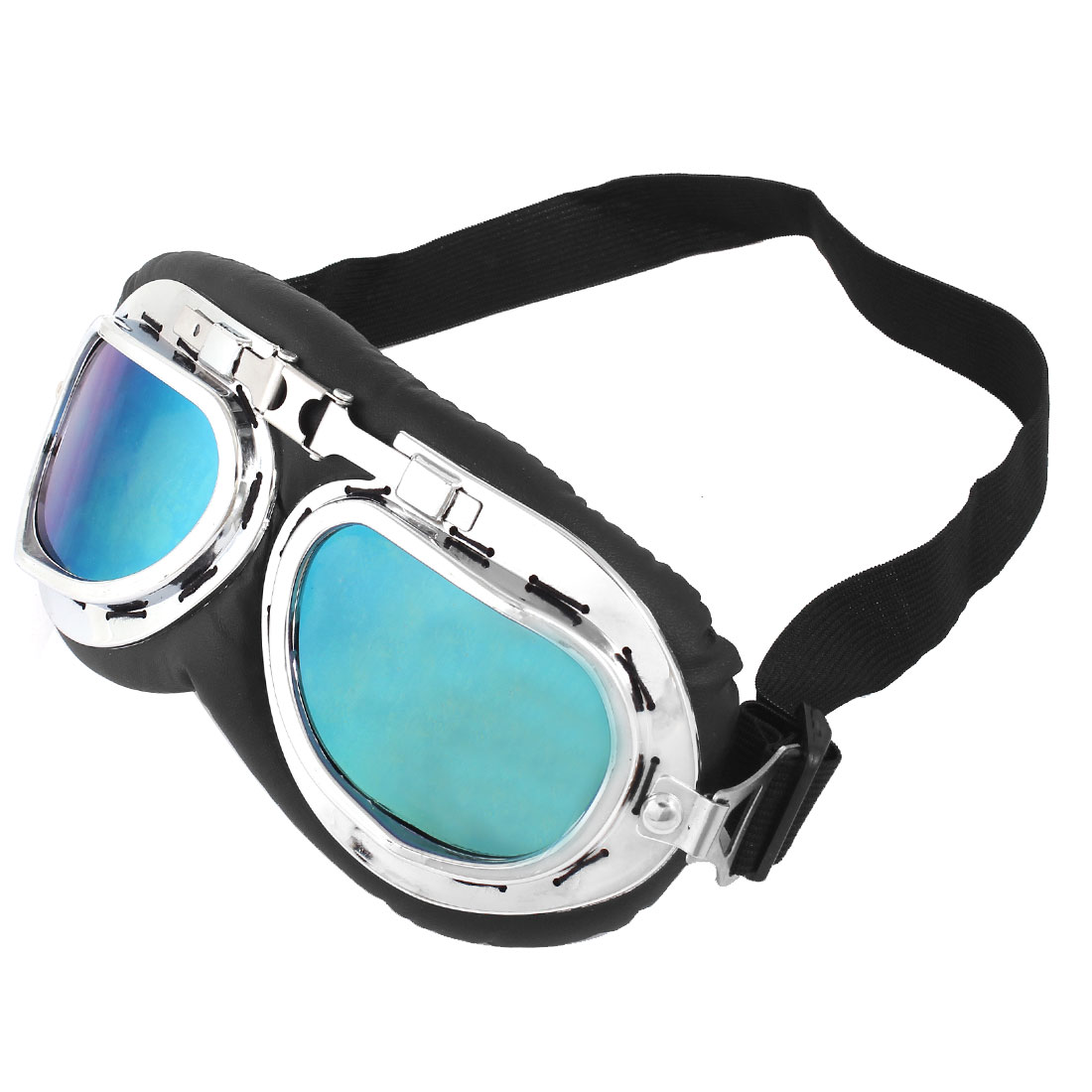 Women Man Folded Frame Elastic Band Mirrored Lens Motorcycle Goggles Glasses