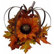 "8.5"" Orange and Copper Metal Pumpkin Table Piece"