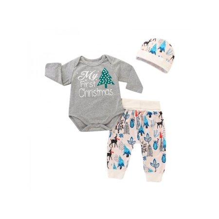 560775a94 Babula Baby Girl Boy Christmas Tree Print Cotton Outfits Romper 3Pcs ...