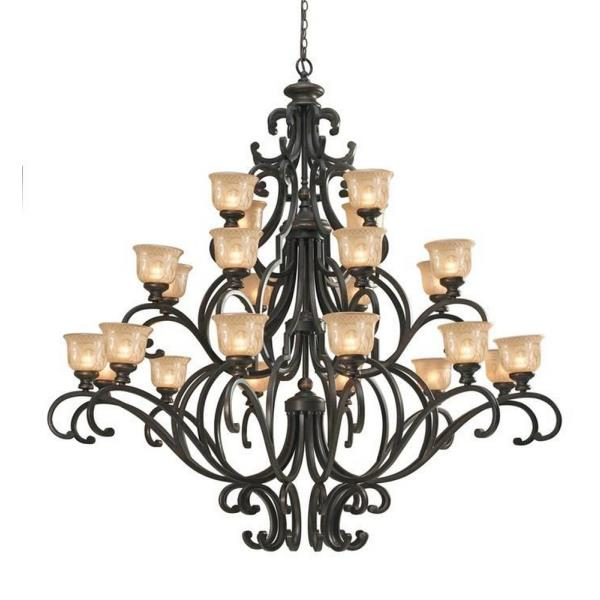 "Crystorama Lighting Group 7418 Norwalk 24 Light 64"" Wide 3 Tier Wrought Iron Cha"