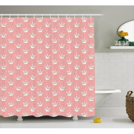 Swan Shower Curtain Hand Drawn Style White Birds On Coral Backdrop With Patterned Wings And