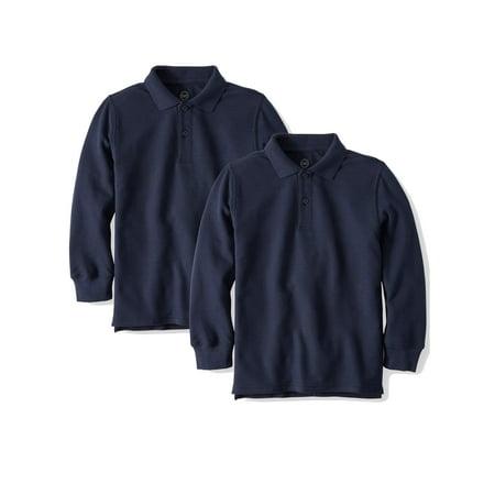 Boys School Uniform Long Sleeve Double Pique Polo, 2-Pack Value (Navy Blue Long Sleeve Uniform)