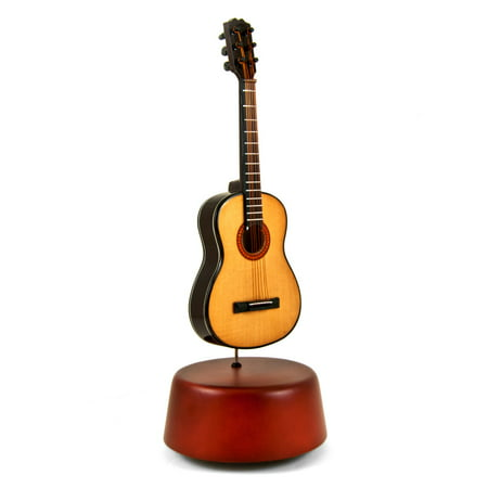 Amazing 18 Note Miniature Acoustic Guitar With Rotating Musical Base - Auld Lang