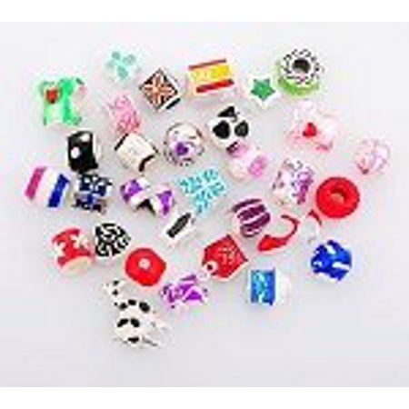 Pack Of 10 Assorted Colorful Enamel and Rhinestone Charm Beads. Fits All Major Charm Bracelets. - Beaded Charm Bracelets