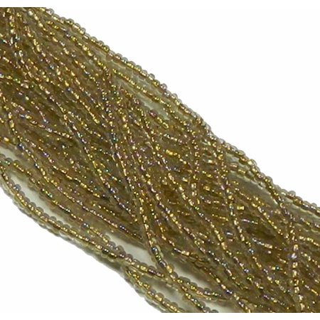 Czech 11/0 Glass Seed, Loose Beads, 1-6 String Hank Preciosa Bronze Lined Crystal AB