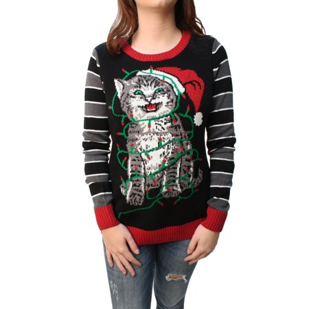 Kitten Christmas Sweater.Ugly Christmas Sweater Women S Tangled Kitten In Lights Led Light Up Pullover Sweatshirt