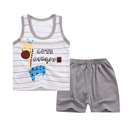 - Kids Infants Boys Girls Cartoon Sleeveless T-shirt Shorts Set Light gray stripe cartoon deer 60#