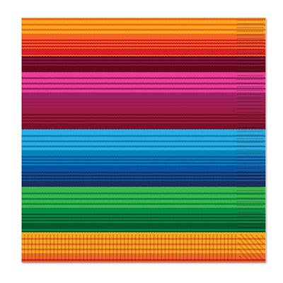 Club Pack of 192 Colorful Striped Fiesta 2-Ply Luncheon Napkins