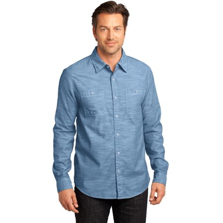 District Made® - Mens Long Sleeve Washed Woven Shirt. Dm3800 Light Blue M - image 1 of 1
