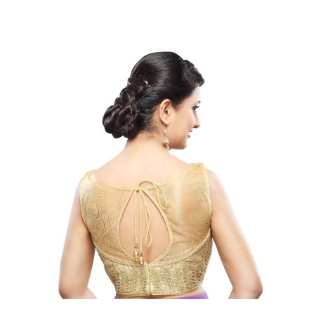 4cd65e0cd6d79 Saris and Things Gold Tissue Back Open Ready-made Saree Blouse Choli ...