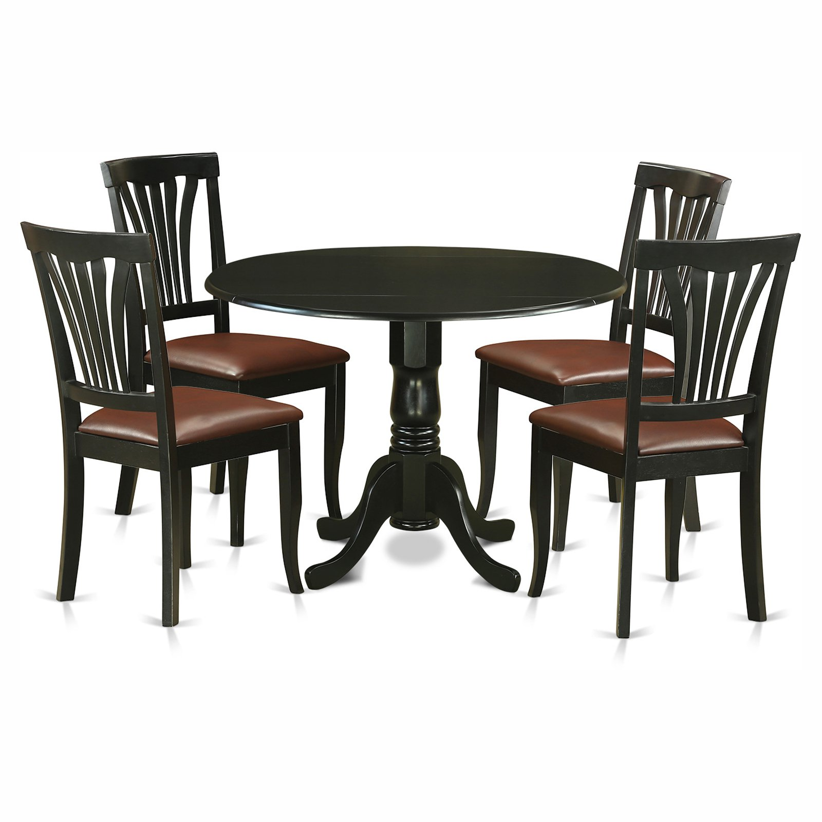 East West Furniture Dublin 5 Piece Round Dining Table Set with Avon Faux Leather Seat Chairs