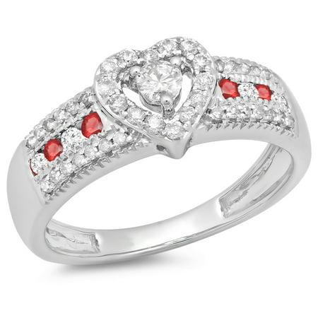 0.55 Carat (ctw) 14K White Gold Round Cut Ruby & White Diamond Ladies Bridal Heart Shaped Promise Engagement Ring 1/2 CT
