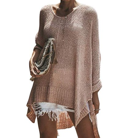 Women's Off Shoulder Casual V Neck Sheer Loose Oversized Pullover Sweater High Low Knitted Jumper (Sheer Silk Sweater)