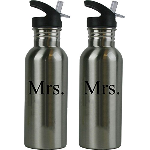 Mrs. and Mrs. Stainless Steel Water Bottle Wedding Set with Straw Flip Tops 20 Ounce 600ml Sport Water Bottles