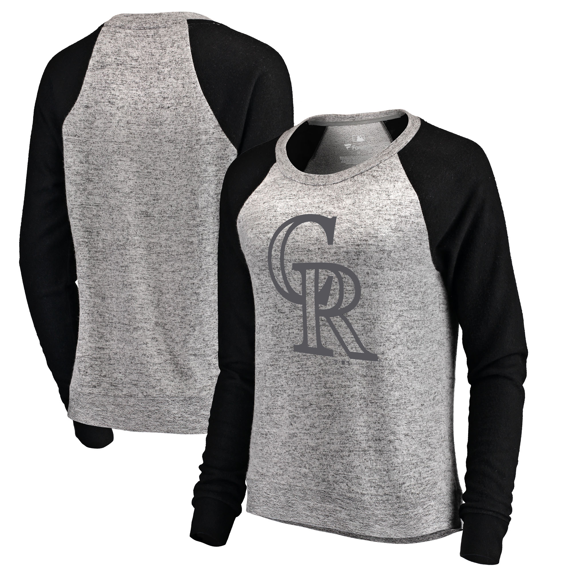 Colorado Rockies Let Loose by RNL Women's Cozy Collection Plush Raglan Tri-Blend Sweatshirt - Ash