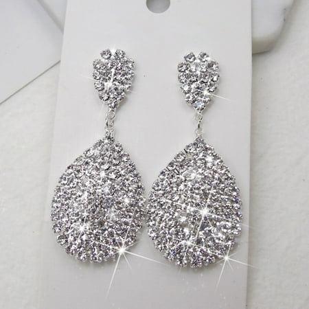 12queen Women Fashion Rhinestone Waterdrop Dangle Stud Earrings Wedding Party Jewelry