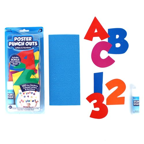 WM Kids Craft Poster Punch Outs, Letters and Numbers with Glue Stick