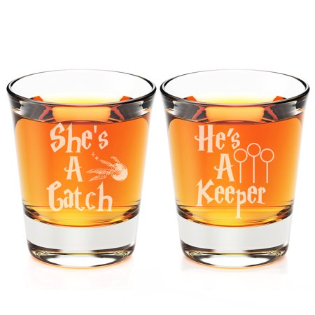 Cheap Engraved Shot Glasses (She's A Catch  and He's a Keeper Engraved Fluted Shot)