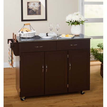 TMS Extra Large Kitchen Cart, Espresso with Stainless Steel Top (Box 1 of 2)