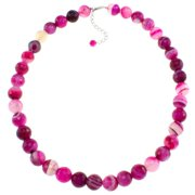Pearlz Ocean Banded Agate Faceted Necklace Pink
