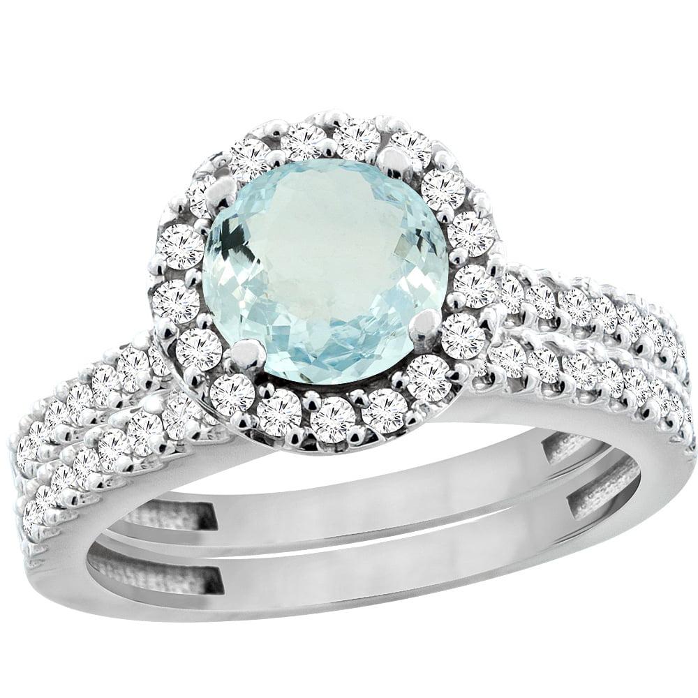 14K White Gold Natural Aquamarine Round 6mm 2-Piece Engagement Ring Set Floating Halo Diamond, size 6 by Gabriella Gold
