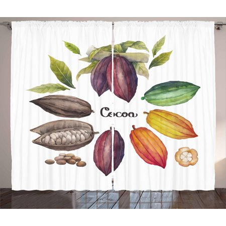 Cocoa Curtains 2 Panels Set, Exotic Food Theme Tropical Seed Organic Botanical Harvest Healthy Plants Watercolor, Window Drapes for Living Room Bedroom, 108W X 96L Inches, Multicolor, by Ambesonne