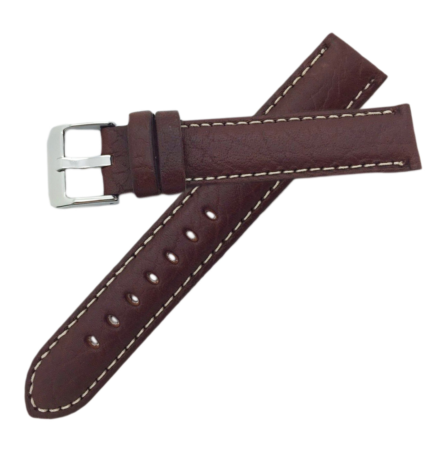 Hadley Roma MS906 30mm Brown Genuine Leather Contrast  Mens Watch Strap