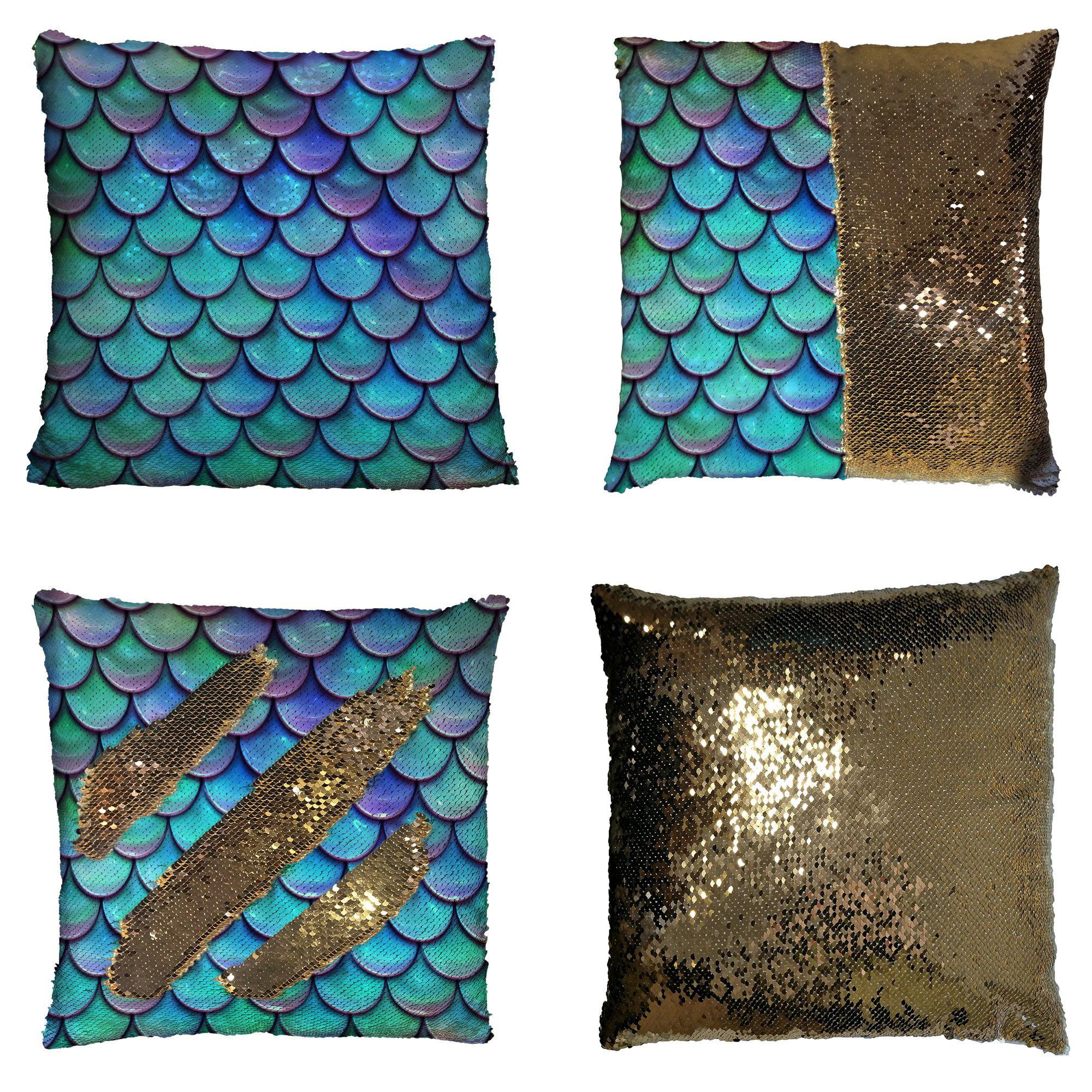 GCKG Fish Scales Purple Blue Reversible Mermaid Sequin Pillow Case Home Decor Cushion Cover 16x16 inches