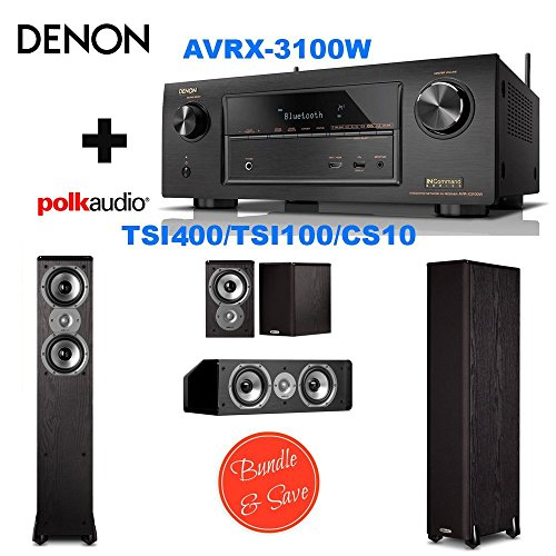 Denon AVR-X3100W 7.2 Channel Full 4K Ultra HD A V Receiver with Bluetooth and Wi-Fi + 2 Polk Audio TSi400 Speaker - by Electronics Expo