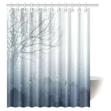 MYPOP Rainy Scene Mystic Foggy Forest Decor, Art Romantic Window Water Drops Scene Melancholia Therapy Lonely Tree Unique Bathroom Shower Curtain 60 X 72 Inches, Denim Gray