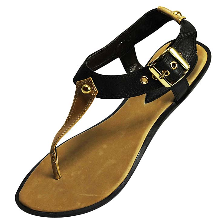 Luxury Divas Dark Brown Thong Sandal Flat With Gold Tone Buckle