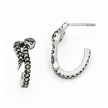 - Sterling Silver Marcasite Snake Post Earrings