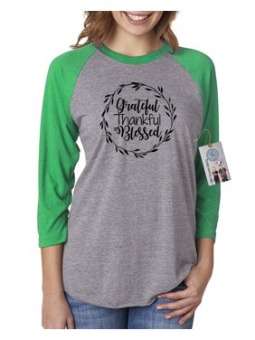 130668169124ca Product Image Grateful Thankful Blessed Thanksgiving Womens 3/4 Raglan  Sleeve T-Shirt Top. Product TitleCustom Apparel R UsGrateful Thankful  Blessed ...