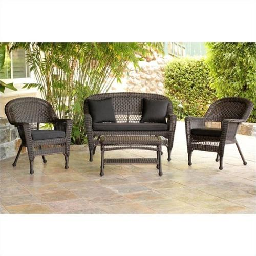 Jeco 4pc Wicker Conversation Set in Espresso with Black Cushions