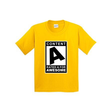 New Way 1179 - Youth T-Shirt Content Rated A For Awesome Small Daisy Yellow (Top Rated Items)