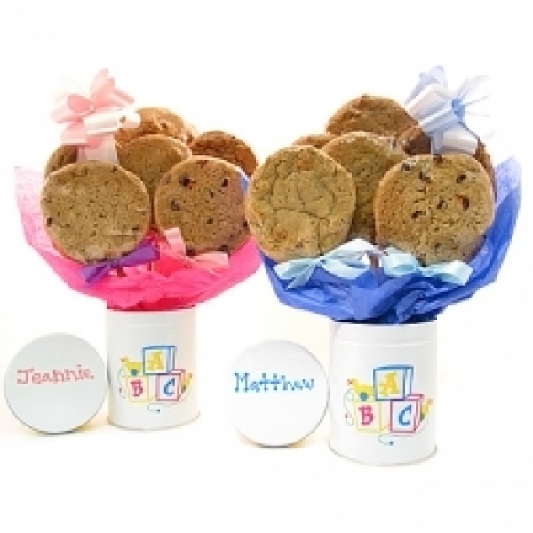 Baby Stemmed Tin Cookie Bouquet With 6 Gourmet Cookies by