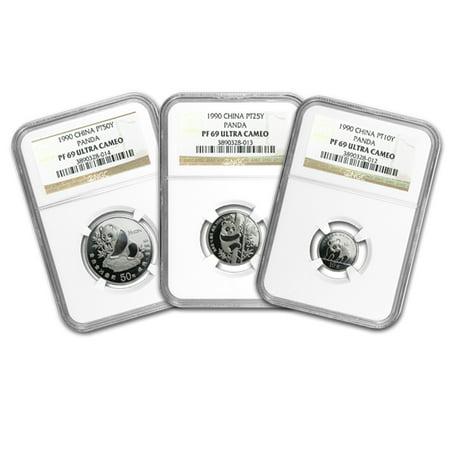 Platinum Ngc Coin Set - 1990 China 3-Coin Platinum Panda Proof Set PF-69 NGC