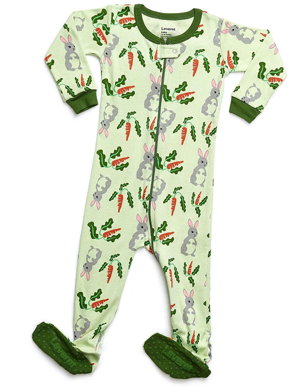 Leveret Organic Cotton Rabbit Footed Pajama Sleeper 12-18 Months
