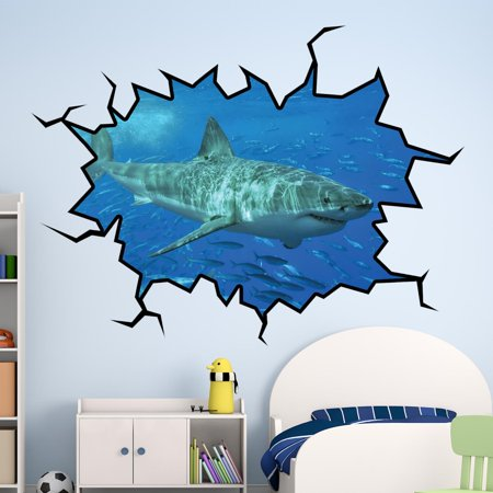 VWAQ Shark Wall Decals Hole In The Wall Great White Shark Sticker VWAQ-WC17 (18