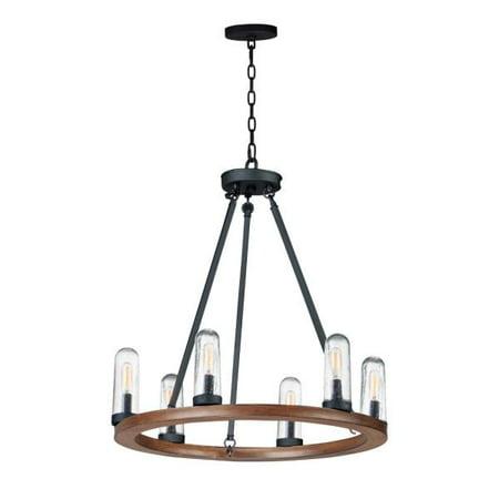 Maxim Lighting Lido - Six Light Outdoor Chandelier, Antique Pecan/Black Finish with Seedy Glass